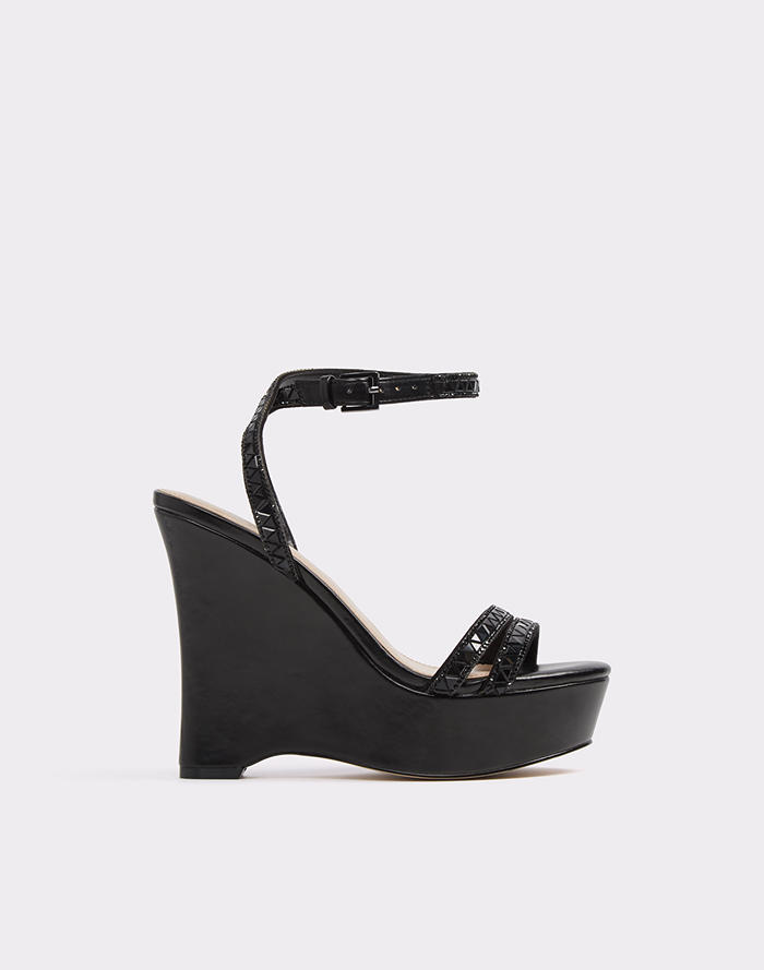 알도 웨지 샌들 ALDO Loenia,Midnight Black