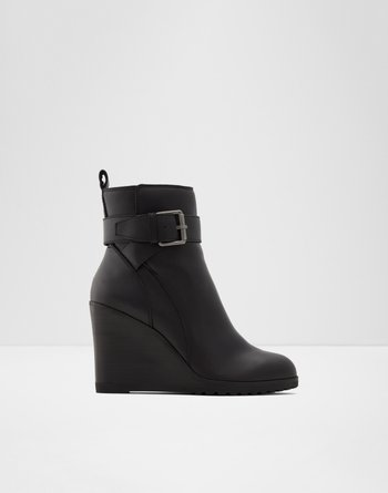 알도 ALDO Ankle boot - Lug soleChomette,Black Leather Smooth