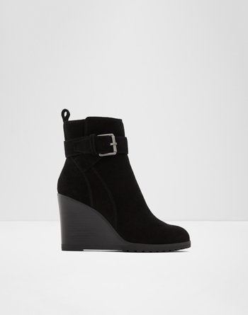 알도 ALDO Ankle boot - Lug soleChomette,Black Leather Suede