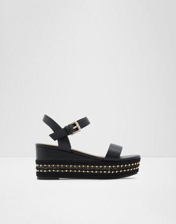 알도 웻지 샌들 ALDO Wedge sandal - Flatform Mauma,Black Synthetic Smooth
