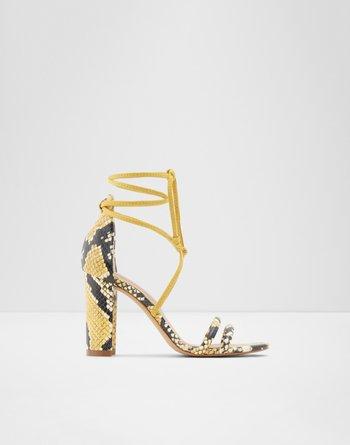알도 힐 샌들 ALDO Strappy heeled sandal - Block heel Nyderia,Yellow
