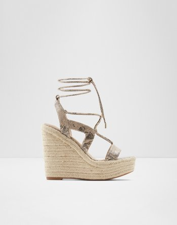 알도 스트래피 웻지 샌들 ALDO Strappy wedge sandal - Wedge heel Oxandra,Natural