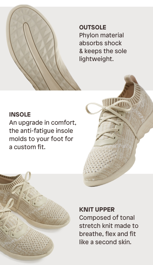 OUTSOLE Phylon material absorbs shock & keeps the sole lightweight. INSOLE An upgrade in comfort, the anti-fatigue insole molds to your foot for a custom fit. KNIT UPPER Composed of tonal stretch knit made to breathe, flex and fit like a second skin.