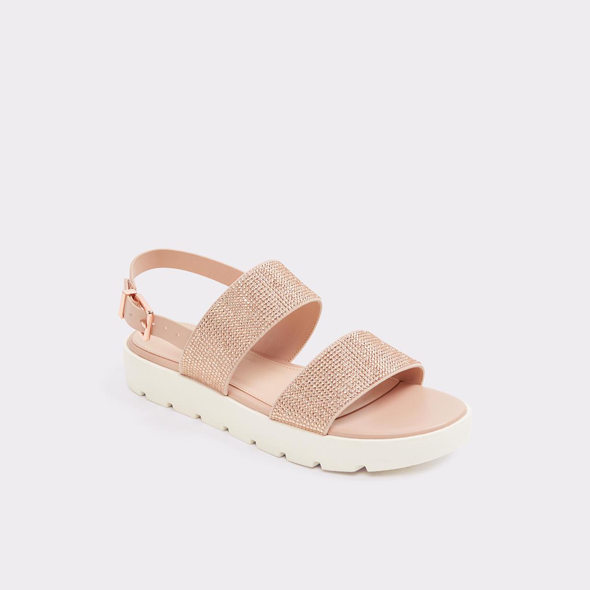 Eliraviel Metallic Rhinestone Flatform Sandals 4XOdA