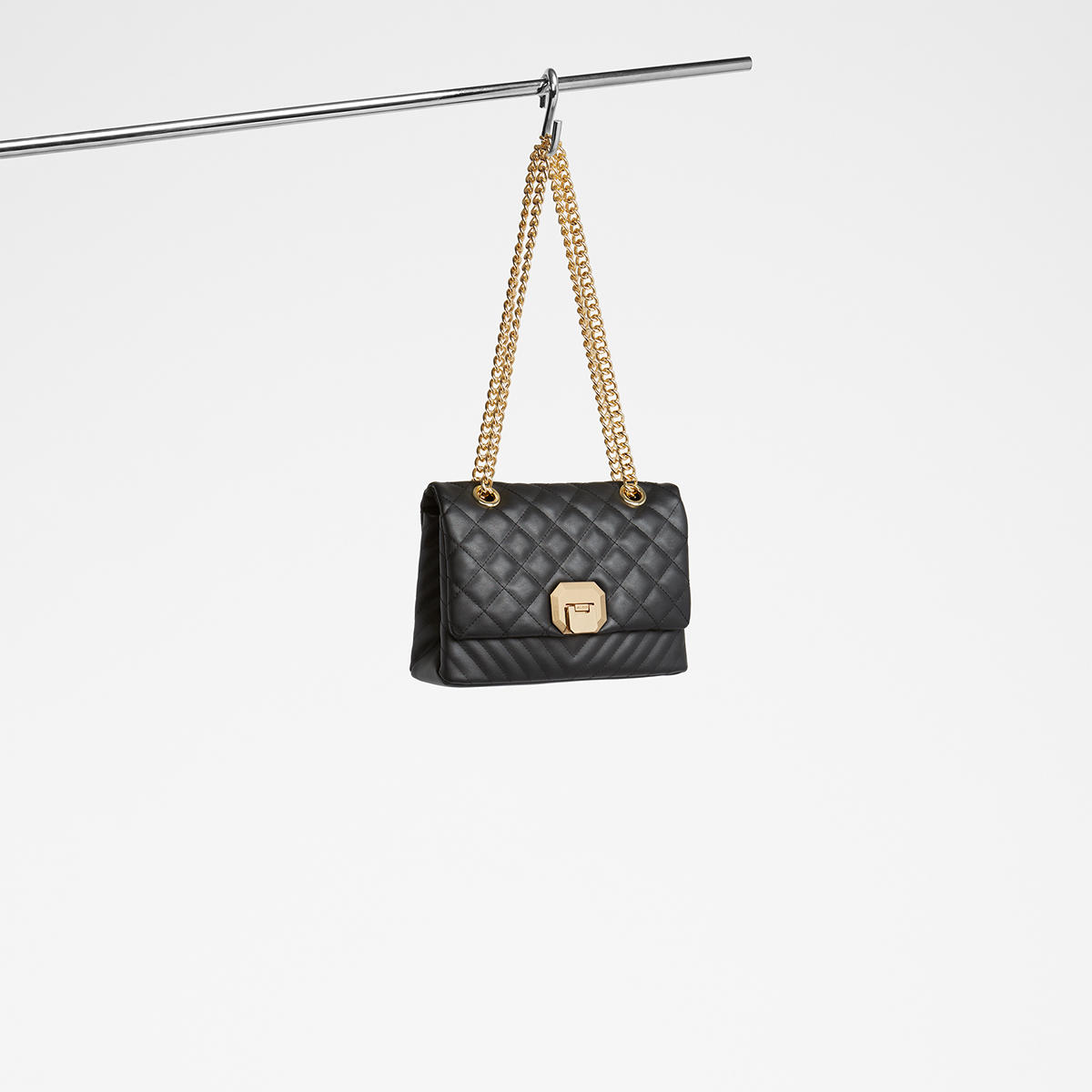 7311e978c70 ALDO Menifee black quilted cross body bag with double gold chunky chain  strap