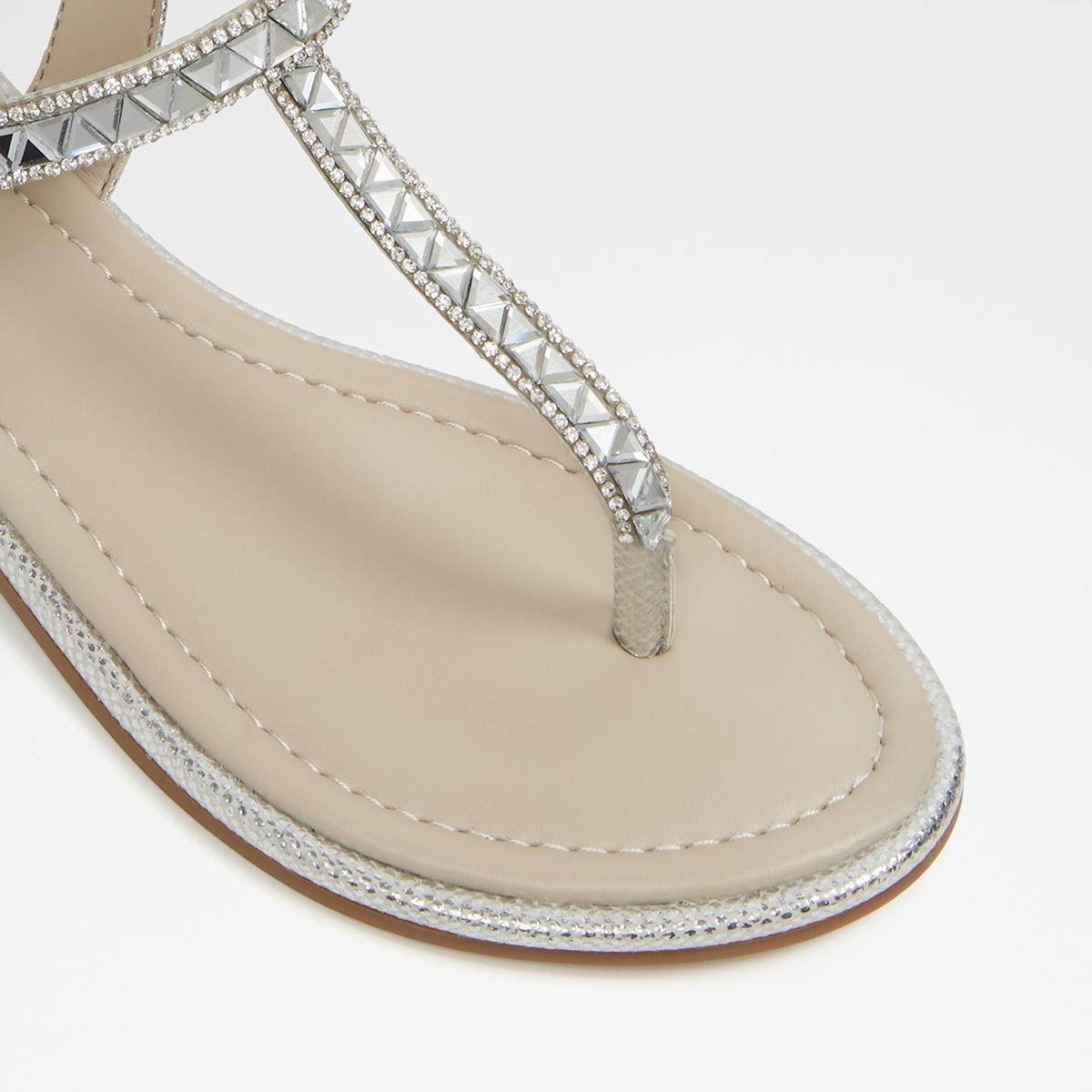 Sheeny Silver Women s Flats