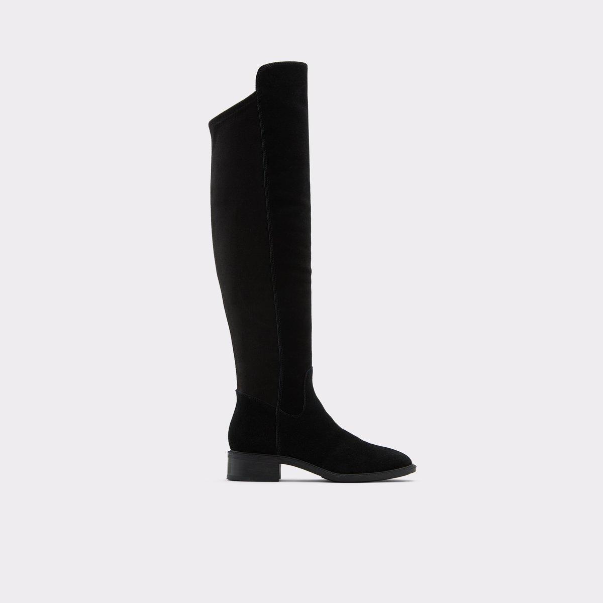 Byssa Black Leather Suede Women's Knee