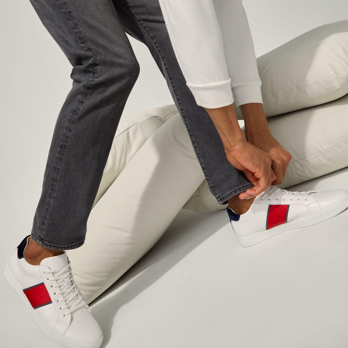 Cowien White Synthetic Croco Men's