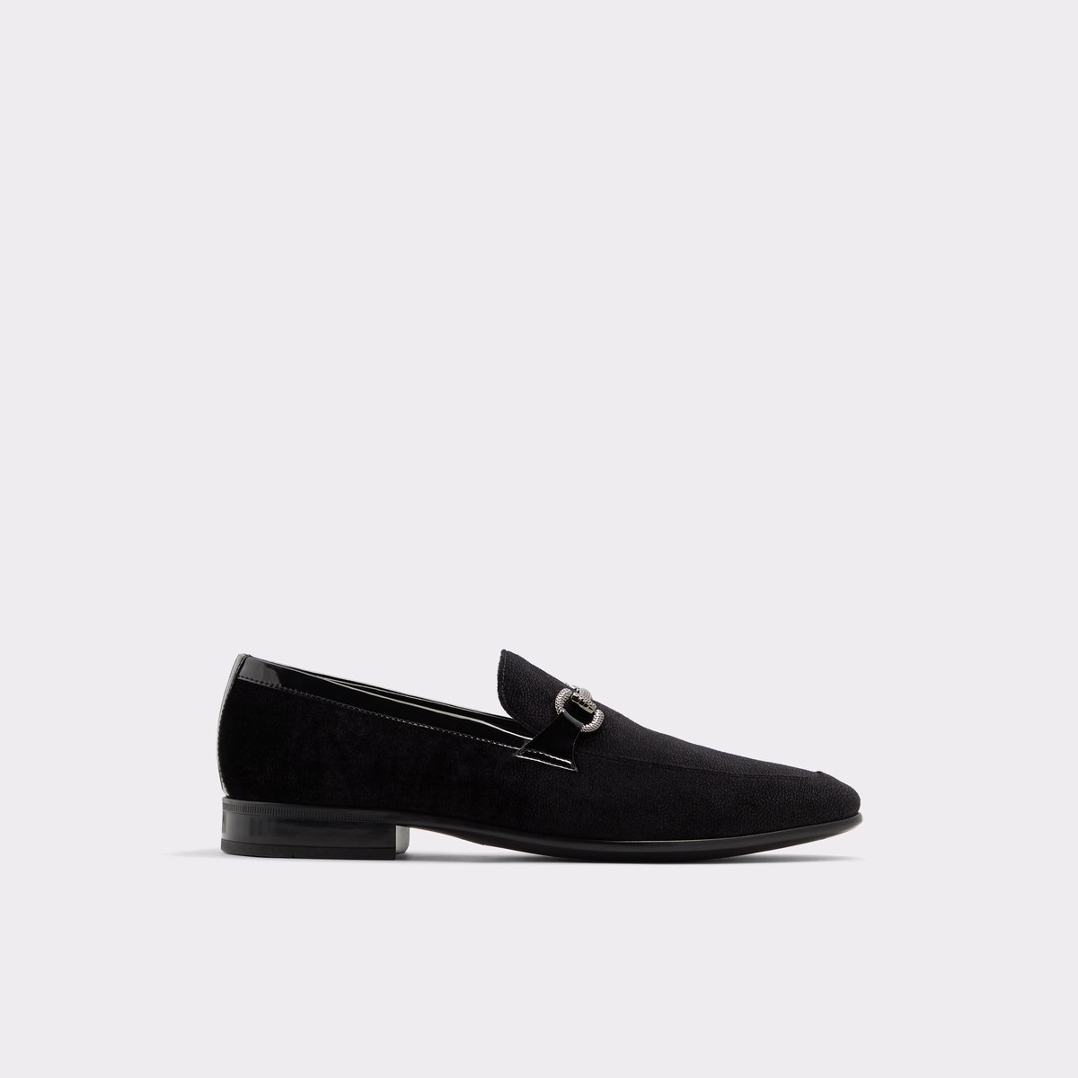 Black Leather Velvet Men's Loafers