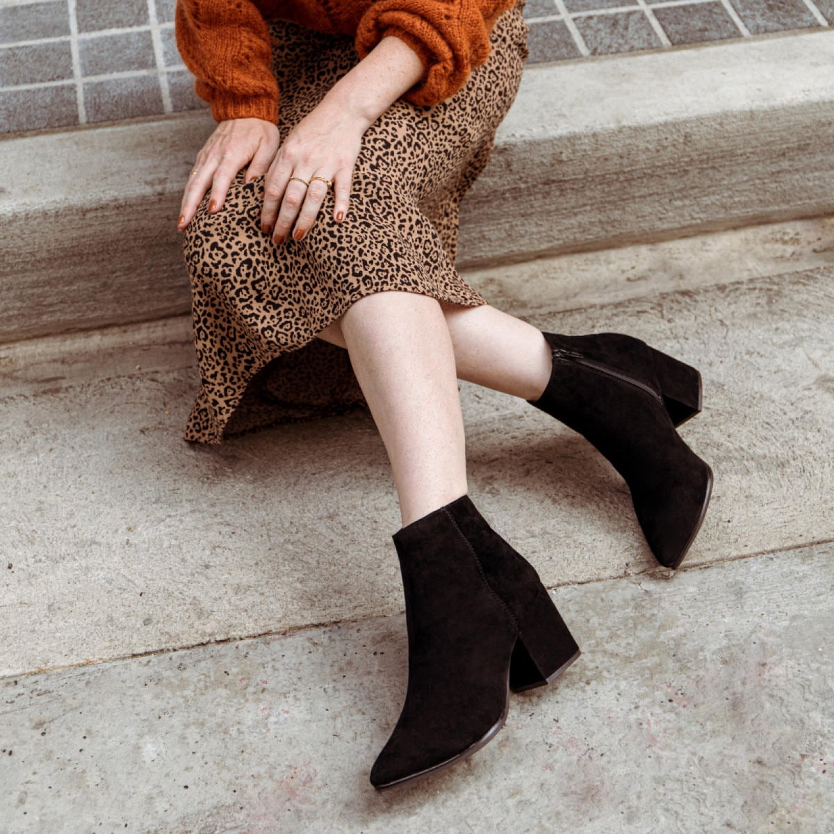Black Leather Suede Women's Ankle Boots